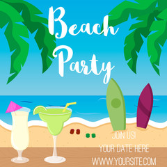 Surfer Beach Party poster in cartoon style.