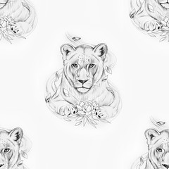 Seamless pattern of a beautiful lion with a lotus on a white background.