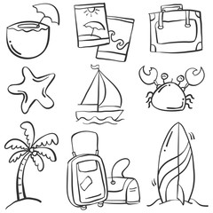 Doodle of object summer holiday
