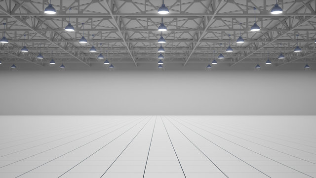 Empty exhibition centre. 3d render