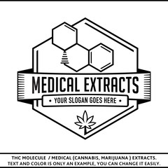 THC molecule / Medical (marijuana, cannabis) extracts. Vector and illustration. Logo design. T-shirt template.
