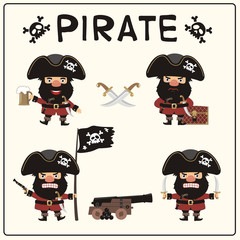 Set isolated pirate in cartoon style. Collection angry pirate in different poses with pistol, sword, beer mug, ship gun and pirated flag.
