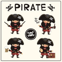 Set isolated pirate in cartoon style. Collection jolly pirate in different poses with pistols, sword, beer mug, rum, and chest with treasures.