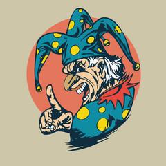 crazy clown clipart. vector  Illustration