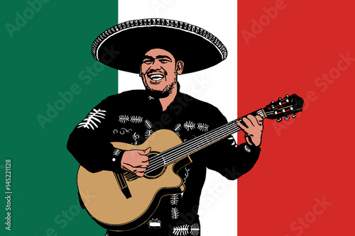 Mexican musician on a background of a flag  Vector