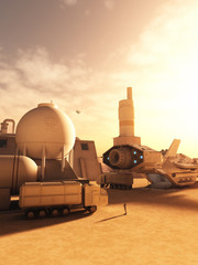 Refuelling Station on a Alien Desert Planet - science fiction illustration