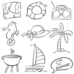 Collection of summer object doodles