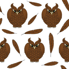 Vector seamless pattern with owls and feathers.