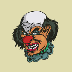 crazy clown Illustration . vector  Illustration.