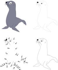 Cartoon fur seal. Dot to dot game for kids