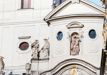 Details Church facade with religious statues