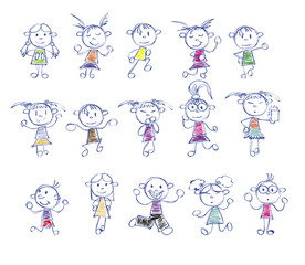 drawing little children doodle with different poses