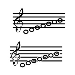 Pictogram music notes icon. Black icon on white background.