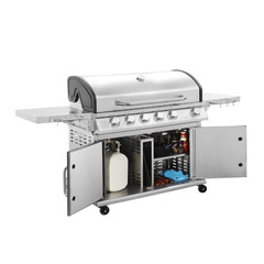 BBQ Grill Isolated on a White Background. Barbecue Gas Grill. Outdoor Cooking Station. Outdoor Grill Table. Cooking and Baking Stove