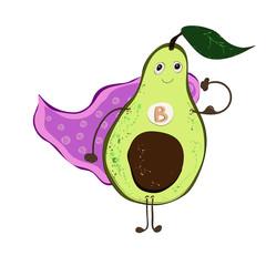 Cartoon avocado superhero vitamin B character, isolated vector, hand drawn on a white background