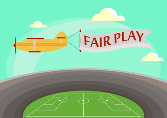 The image of an airplane flying over a football stadium with an attached banner with text fair play. Vector illustration in flat style.