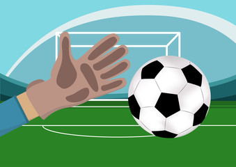 Image of goalkeeper hand with gloves holding a soccer ball. Stadium with Football field and gates on background.Vector illustration in flat style.