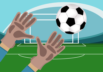 Image of goalkeeper hands with gloves holding a soccer ball. Stadium with Football field and gates on background.Vector illustration in flat style.