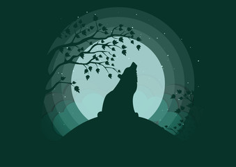 Silhouette of a wolf howling to the moon. Clubs of fog, clouds, starry sky, outlines of trees. Stylish vector illustration