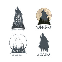 Set of four wolf howling on the moon in the forest.
