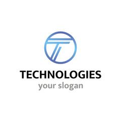 Vector logo template for technology or communications companies, high-tech innovation.Letter T, inscribed in a circle.