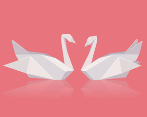 Vector illustration of a pair of paper origami swans. Love. Vector element for your creativity