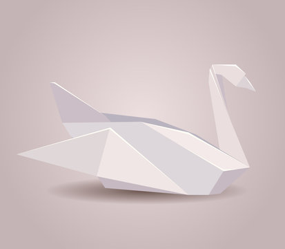 Illustration of a paper origami swan. Paper Zoo. Vector element for your design