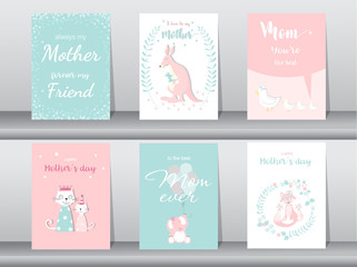 Set of Happy Mother's Day card,poster,template,greeting cards,cute,kangaroo,cats,elephant,fox,animal,Vector illustrations