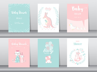 Set of baby shower invitation cards,birthday cards,poster,template,greeting cards,cute,kangaroo,cats,elephant,fox,animal,Vector illustrations