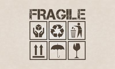 Fragile symbol set on brown cardboard