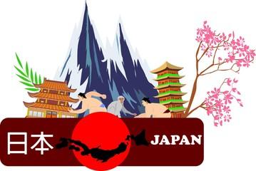 Travel and landmark japan template design. Concept Vector Illustration