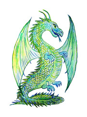 Green dragon, watercolor.