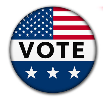 USA Vote Button with Clipping Path