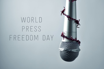 microphone and text world press freedom day