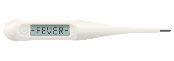 Fever thermometer with the word FEVER on digital display - isolated vector illustration on white background.