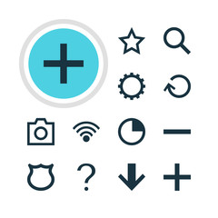 Vector Illustration Of 12 User Icons. Editable Pack Of Plus, Help, Asterisk And Other Elements.