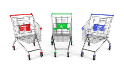 Three shopping cart in different colours. 3d illustration