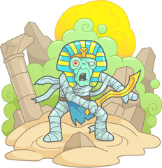 cartoon terrible mummy with a sword in his hand