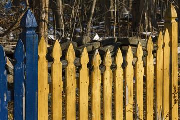 Picket fence on a farmland.