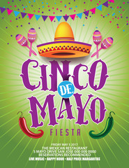 Cinco De Mayo design for celebration of the Mexican holiday on the fifth (Cinco) of May (Mayo). EPS 10 vector.