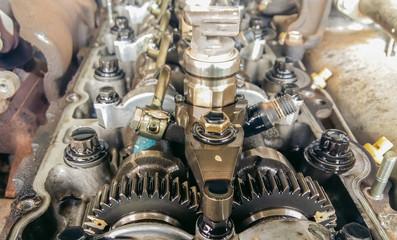 Close up inside car engine