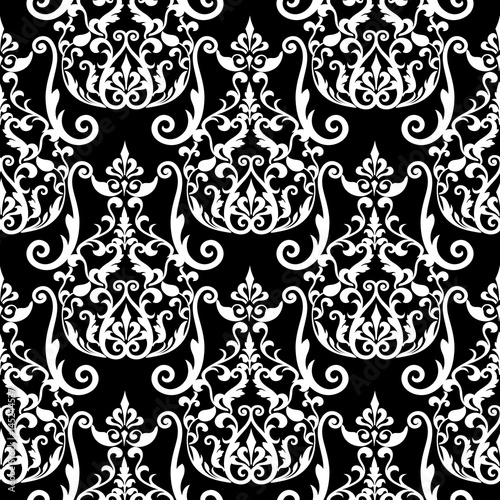 Damask seamless pattern floral black background wallpaper with floral black background wallpaper with vintage white flowers swirl scroll leaves mightylinksfo