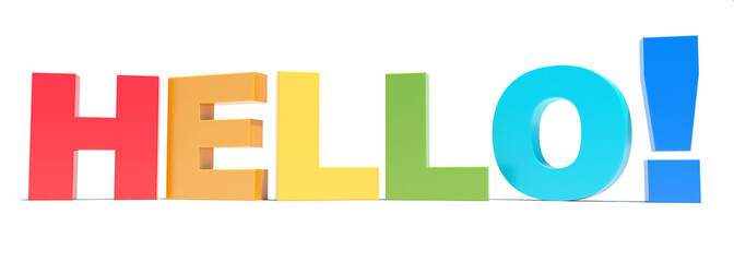 HELLO colorful letters 3D rendering