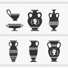 Greek Vase Set Vector Illustration