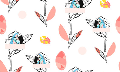 Hand made abstract textured trendy creative collage seamless pattern with floral motif isolated on white background with different textures and shapes.Modern graphic design.Unusual artwork.