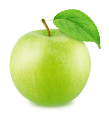 Fresh Green Apple with Leaf Isolated on White Background