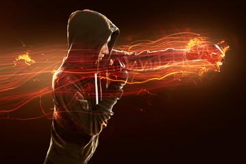 Door stickers Martial arts Frau beim Kampfsporttraining