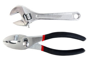 Pliers and wrench. Isolated.