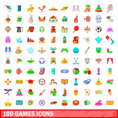 100 games icons set, cartoon style