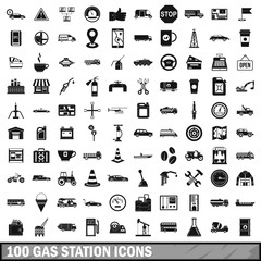 100 gas station icons set, simple style
